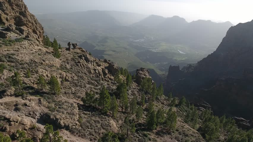 4K Aerial footage from Gran Canaria, Canary Island, Spain. Flying trough mountains. #1016982517