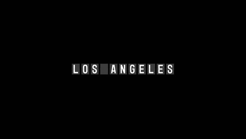 Flip board of text Los Angeles against black background 4k | Shutterstock HD Video #1016984857