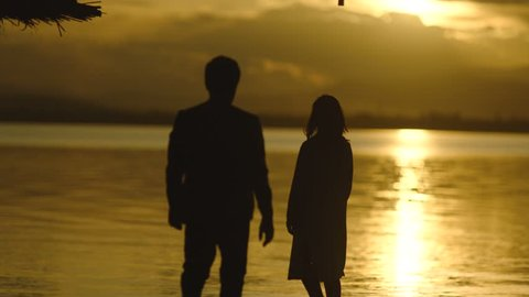 Man and Woman Walking Along Summer Beach at Sunset . Young couple on lonely beach . Romantic couple is enjoying sunset . Silhouette of couple at the sea background . A pair of lovers watching the sky.
