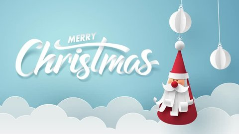 Animation and footage, Paper art of Merry Christmas calligraphy hand lettering with Santa Claus