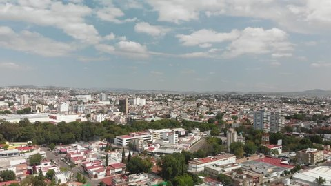 Aerial panoramic view of Puebla de Zaragoza, while flying over downton, in a very clear day.