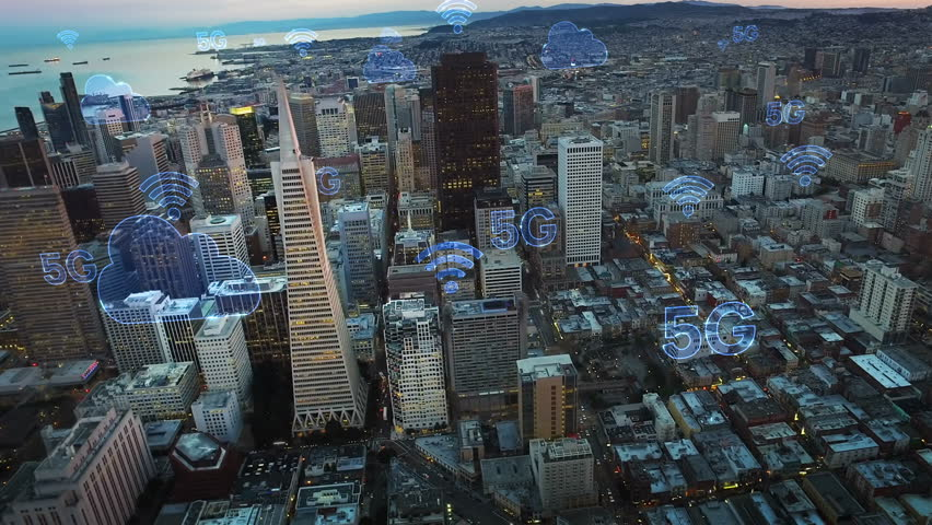 Aerial city connected through 5G. Wireless network, mobile technology concept, data communication, cloud computing, artificial intelligence, internet of things. Futuristic city. San Francisco skyline. | Shutterstock HD Video #1017009607