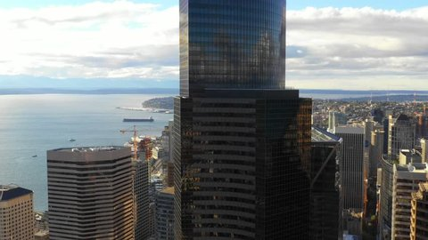 SEATTLE, WASHINGTON, USA - SEPTEMBER 15, 2018: Aerial drone video of the Columbia Center Seattle Washington 4k 30p