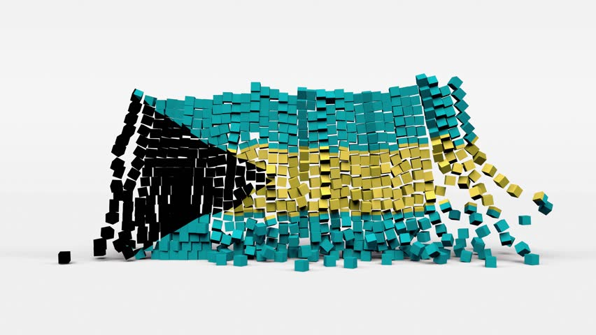 Flag of Bahamas created from 3d cubes in slow motion