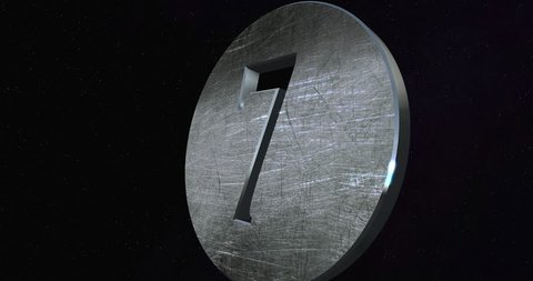 Countdown 10 To 0 - Ten To Zero Metal 3D Number Animation Stars In Space Background - 4K Resolution Ultra HD
