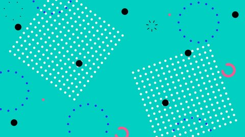 Simple abstract emerald memphis style background with trendy geometric color retro elements. Looped motion graphic.