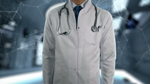 Memory Loss - Male Doctor With Mobile Phone Opens and Touches Hologram Illness Word