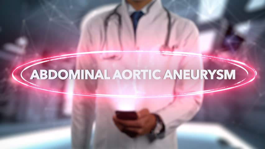 Abdominal aortic aneurysm - Male Doctor With Mobile Phone Opens and Touches Hologram Illness Word
