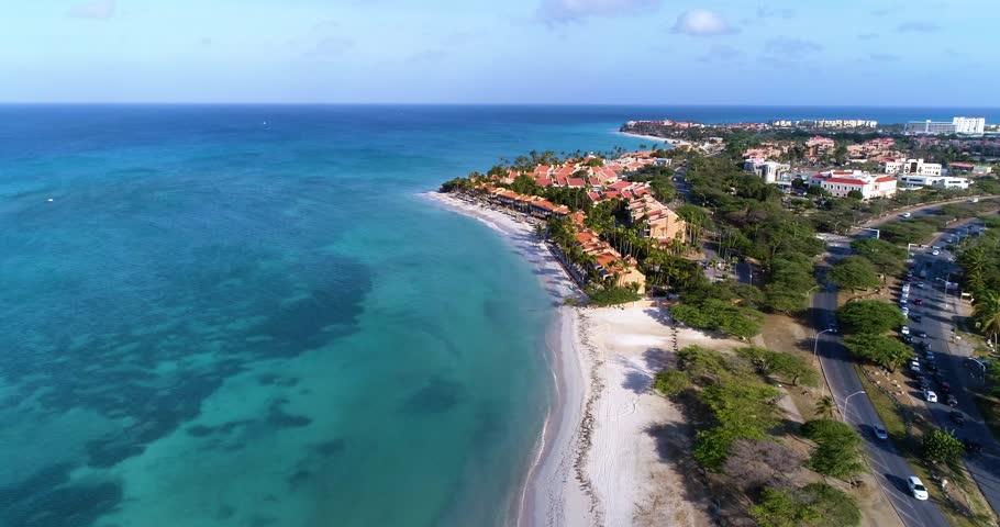 High fly in coast line beatiful white beach Aruba  | Shutterstock HD Video #1017148567