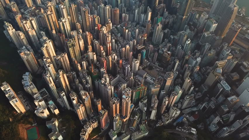 Aerial view of Hong Kong Downtown. Financial district and business centers in smart city in Asia. Top view of skyscraper and high-rise buildings. | Shutterstock HD Video #1017148867