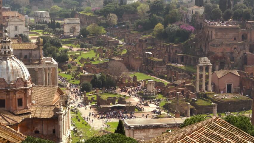 The Roman Forum seen from the top of the Piazza Venezia | Shutterstock HD Video #1017167887