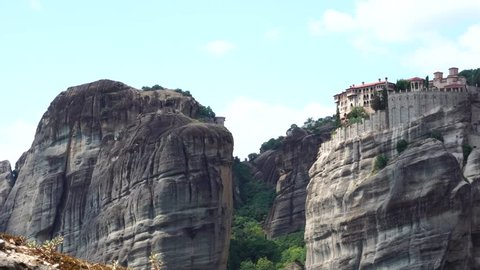 Fascinating landscape panorama of Grand Meteoron monastery on huge stone rock Pindus mountain in Meteora Thessaly Greece