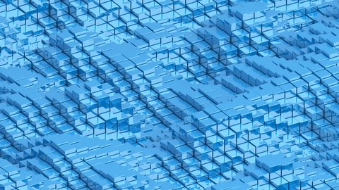 Waving surface with glossy blue cubes animation background