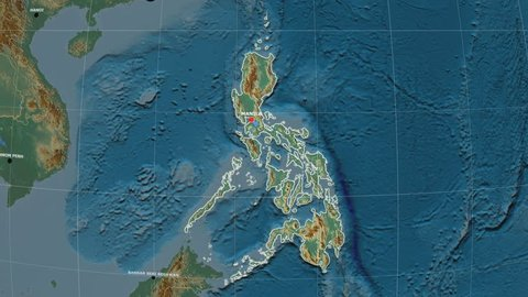Zoom-in on Philippines outlined on the globe. Capital, administrative borders and graticule. Relief map