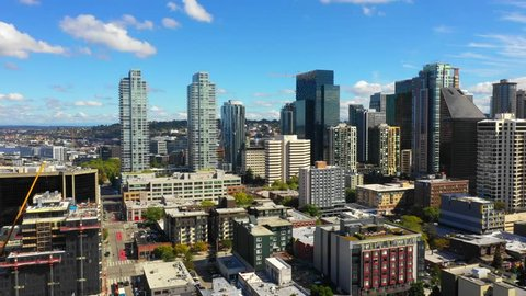SEATTLE, WASHINGTON, USA - SEPTEMBER 15, 2018: Aerial video commercial real estate office space Seattle