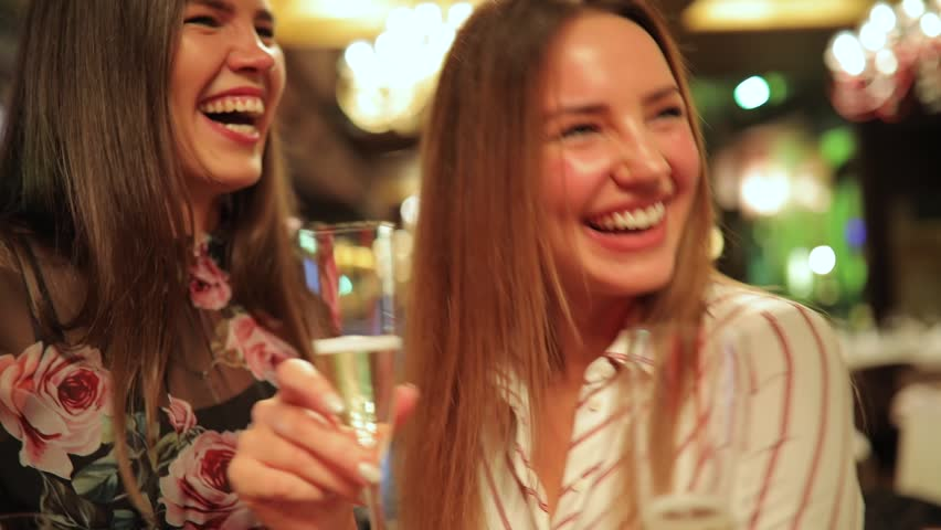 Birthday party celebration, women friends talking with each other | Shutterstock HD Video #1017250837