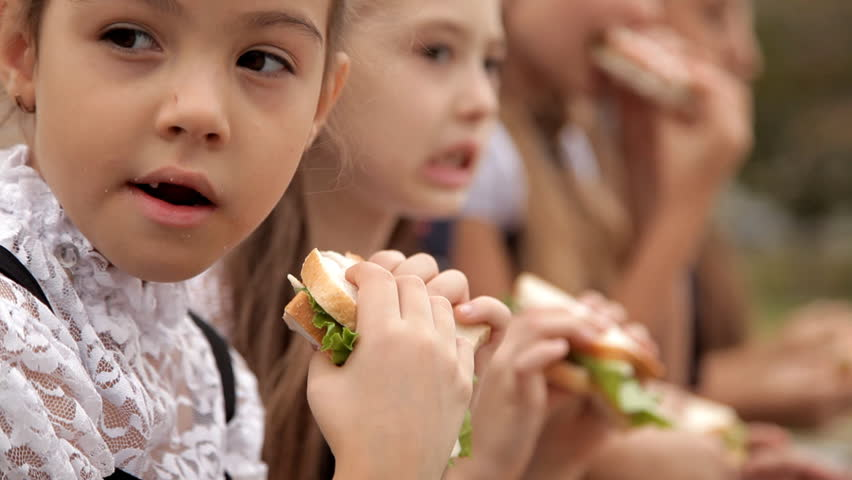 Children in school uniform after classes spend time in the park at the bottom of a sandwich. Delicious food, a sandwich day | Shutterstock HD Video #1017263347
