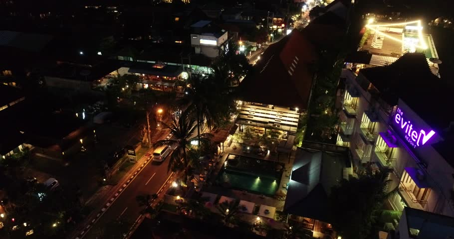 Ubud, Bali / Indonesia - August 17, 2018 : Aerial of Ubud at Night | Shutterstock HD Video #1017272227