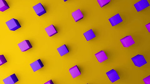 3d cubes gradient yellow background. VJ Seamless loop background.