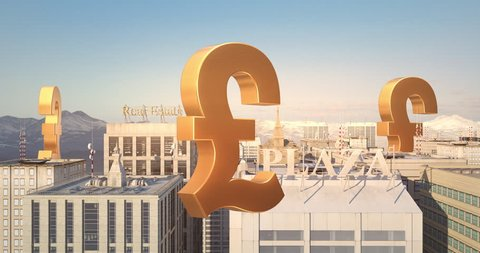 British Pound Sign In The City - Business Related Aerial 3D City Flight Animation Over Skyscrapers