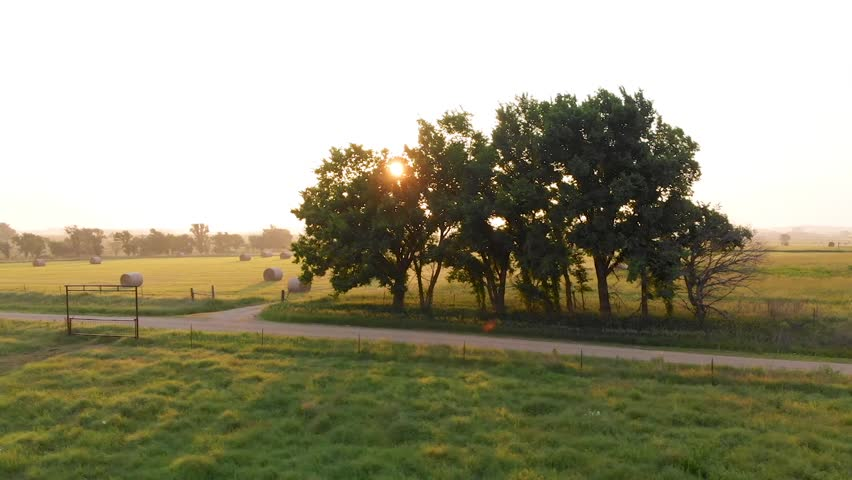 An aerial parallax video of trees and a dirt country road with sunflare.