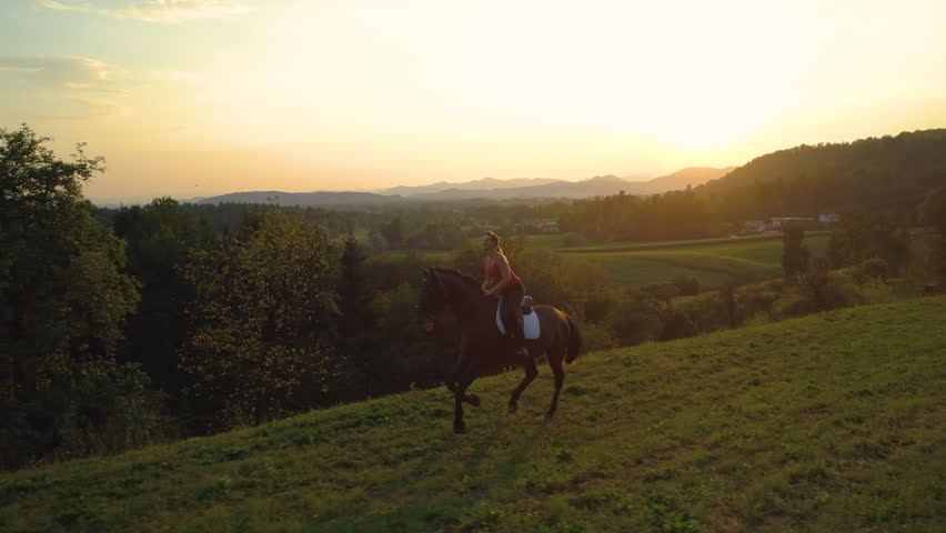 SLOW MOTION, AERIAL: Carefree Caucasian girl gallops on her brown horse on summer evening. Happy young woman horseback riding through the picturesque Slovenian countryside at golden lit sunrise.