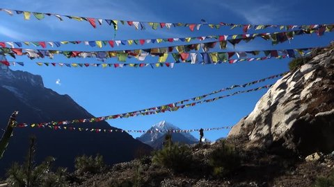 Himalaya Mountains with flags prayer in Nepal 2