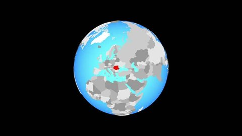 Zoom to Romania on blue political globe. 3D illustration.