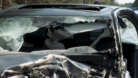 Car Destroyed After Horrible Car Accident. Exploded Airbag in Blood. Car Crash Accident on Street Damaged Automobiles After Collision.