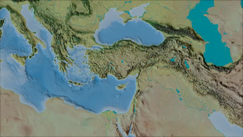 Anatolian tectonic plate shape animated on the topographic map in the van der Grinten projection with oblique transformation. Stroke first. Peter Bird's division