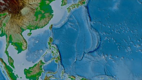 Philippine Sea tectonic plate shape animated on the physical map in the van der Grinten projection with oblique transformation. Stroke first.