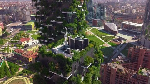 Milan, Italy - September 26, 2018: Aerial view. Modern and ecologic skyscrapers with many trees on every balcony. Bosco Verticale