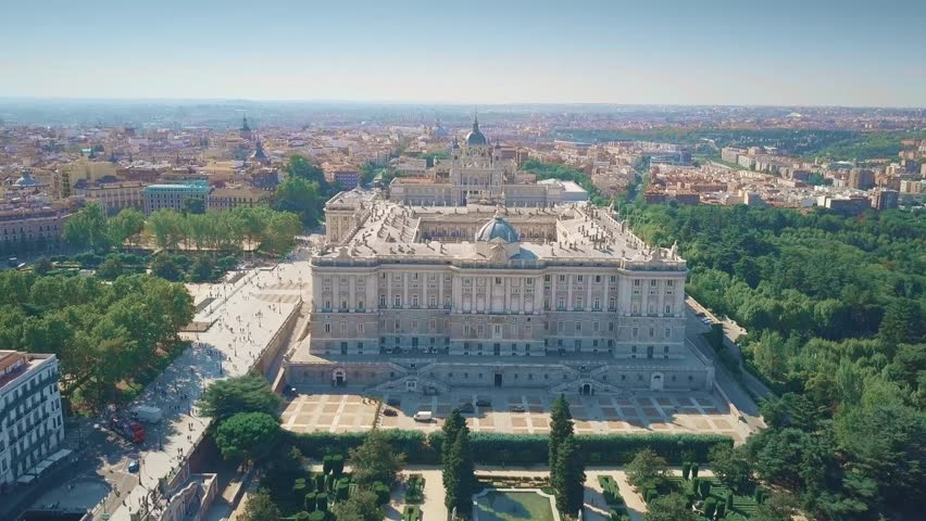Aerial view of Palacio Real or Royal Palace in Madrid, Spain