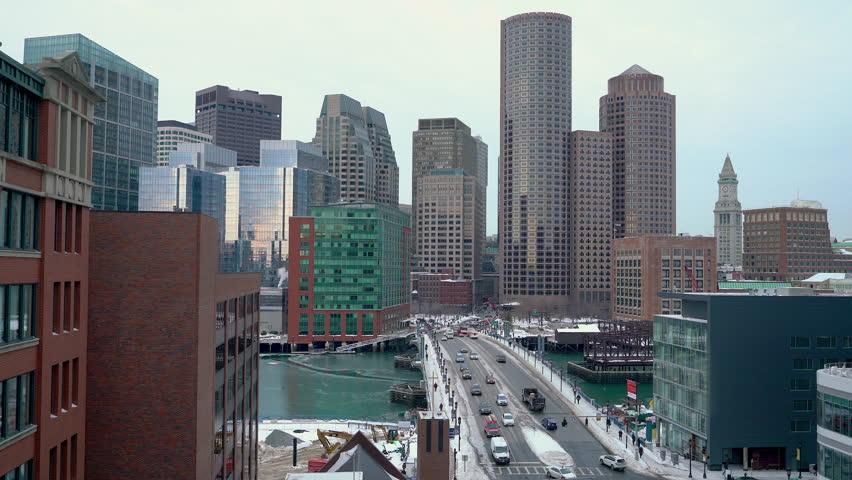 Boston city center at winter morning