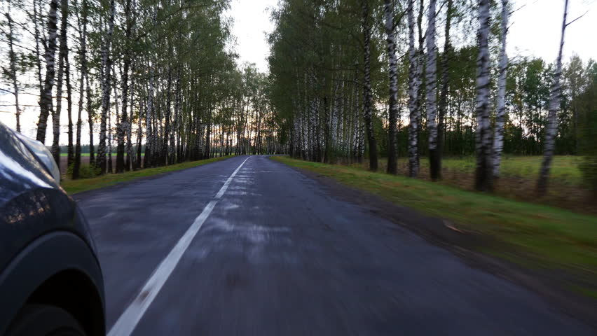 Driving a car on a country road. Wheel spinning. | Shutterstock HD Video #1017551257