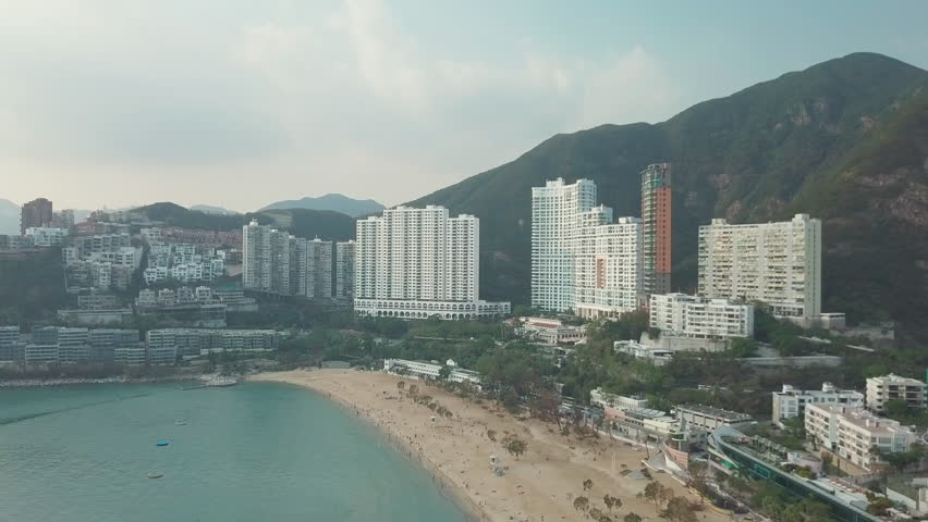 Aerial Drone Flight Over Repulse Bay beach in the southern part of Hong Kong Island,The Repulse Bay is one of the high end living area in Hong Kong. | Shutterstock HD Video #1017555607