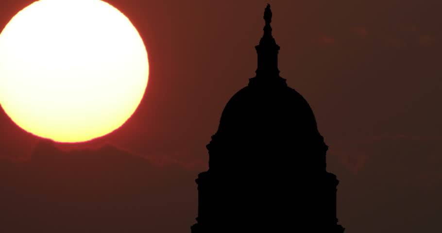 Capitol Dome Washington DC USA silhouette Timelapse at Sunset. Landmark, symbol of the town and of United States of America. Creative vision. Political center.