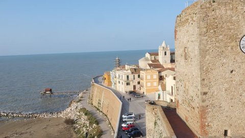 Aerial Drone footage view of Termoli , city on sea Molise Italy // no video editing