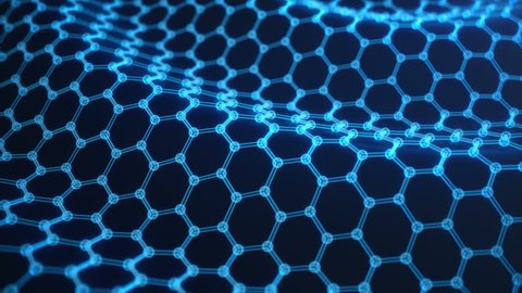 Abstract nanotechnology hexagonal geometric form close-up, concept graphene atomic structure, concept graphene molecular structure. Scientific concept.