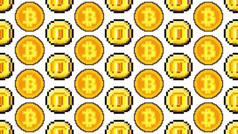 A vertical scrolling endless pattern: golden coins and bitcoins in pixel art style.