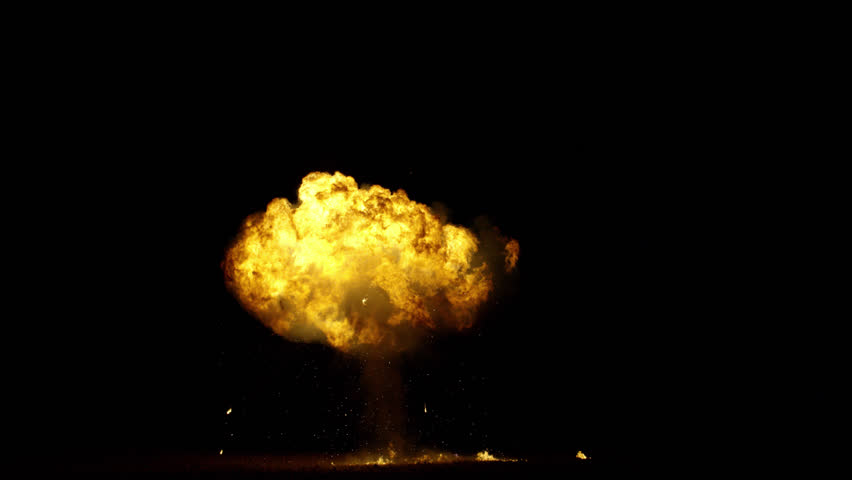 Large gas explosion. On black for compositing and special effects. Shot on a RED camera. 4k visual effects footage.