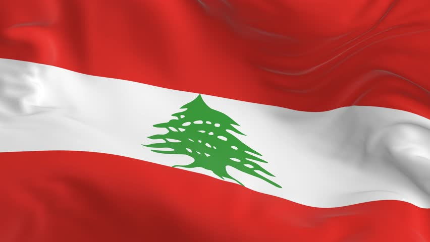 Waving a looped flag as a background Lebanon