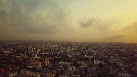 Senegal drone shot aerial over buildings