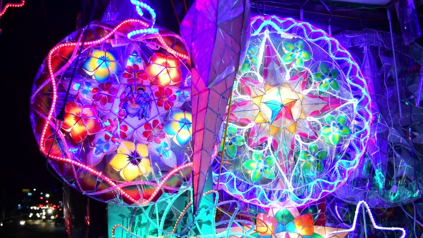 Huge Philippine Christmas star/lantern flashing colorful lights in the evening. In 4k video | Shutterstock HD Video #1017790927