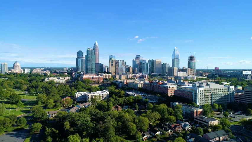 Downtown Charlotte, North Carolina, USA Skyline Drone Aerial