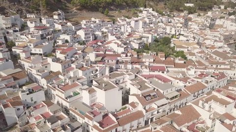 Aerial scenic view of typically Touristic Attraction Mediterranean Andalusian Spanish Mijas Pueblo Village Costa del Sol Malaga Spain Houses Real Estate