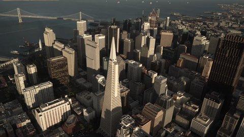 San Francisco Circa-2016, aerial view of San Francisco skyline, orbiting around the Transamerica Pyramid at sunset