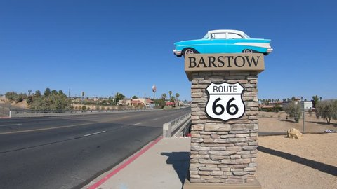 Barstow, California, USA - August 15, 2018: Barstow Sign along Route 66 which crosses the city Main Street. Barstow is located in Mojave Desert between Los Angeles and Las Vegas.