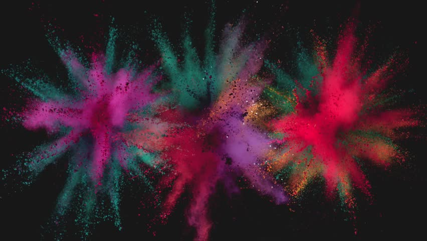 Ultra slowmotion shot of color powder explosions isolated on black background. Shot with high speed cinema camera at 1000fps #1017852487