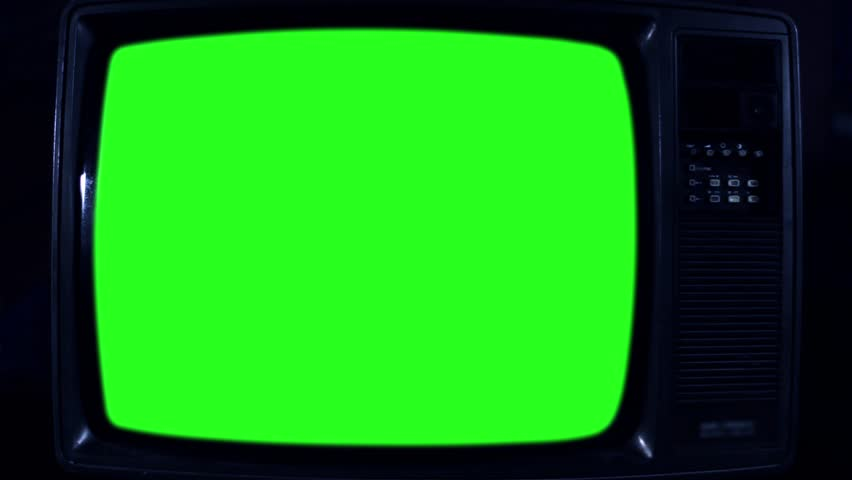 Old Television with Green Screen. Dark Night Tone. Ready to Replace    Shutterstock HD Video #1017941497